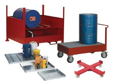 Galvanised Drip Trays, Drip Tray Trolley, Drip Tray Containment Shelving, Sump Pallets, Drum Trolley, Drum Stands and Racks, Drum Dolly