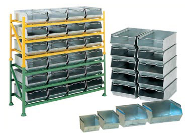 Galvanised Vista Bins, Racks and Trolleys, Louvred Bins, Racks and Trolleys