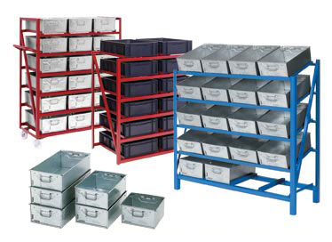 Galvanised Steel Tote Pans, Tote Baskets, Plastic Tote Pans, Tote Pan Racks, Feeder Racks, Cantilever Racks, Stacking Racks, Rack Trolleys and Order Picking Trolleys